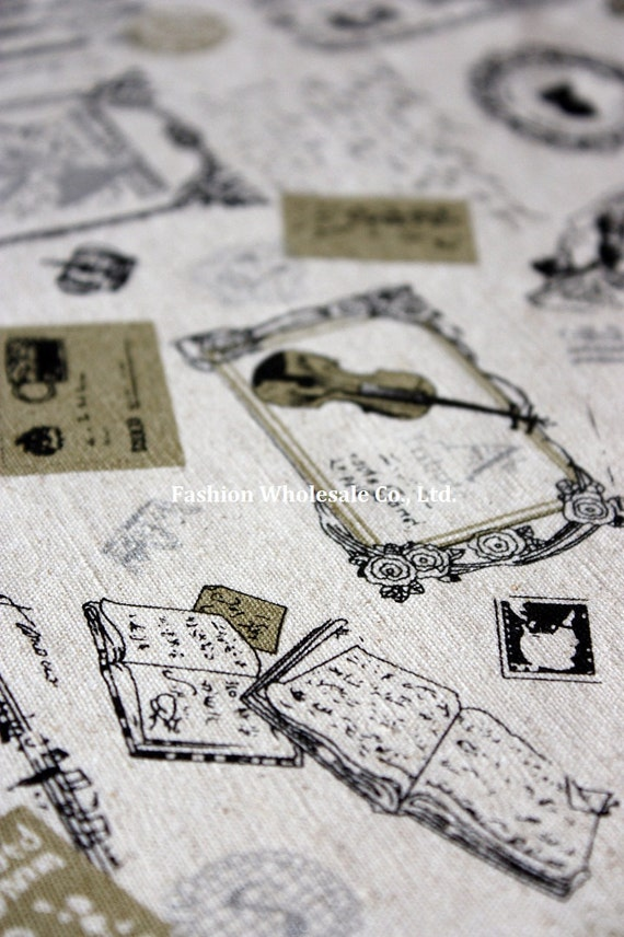 Half Yard - Japanese Linen Cotton Blended Fabric - Retro Musical Instruments