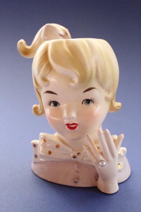 Lady Head Vase Girl Teen Inarco 1061 Lavendar
