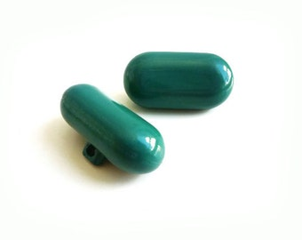 2 Large Vintage Green Buttons, Retro French Teal Buttons
