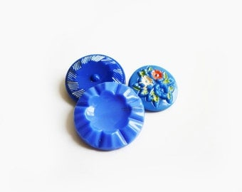 3 Assorted Blue Flowers Glass Buttons, Antique French Buttons