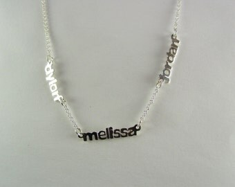 silver names  (three ) with a chain up to 20""
