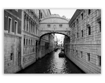 "Venice Photography, Italy photos, canals of Venice, home decor - ""The Bridge of Sighs"" - Fine Art Photograph B&W"