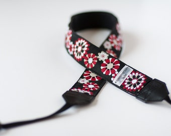 Psychedelic Flowers Red, White, Beige, on Black Woven Ribbon Covered Camera Strap EXTRA LONG