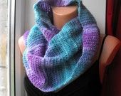 SALE% Crochet multicolor scarf snood,cowl,neckwarmer,circle scarf,teal.lilac,lavender
