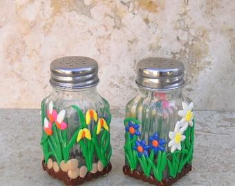Salt and Pepper Shakers OOAK Flower Garden