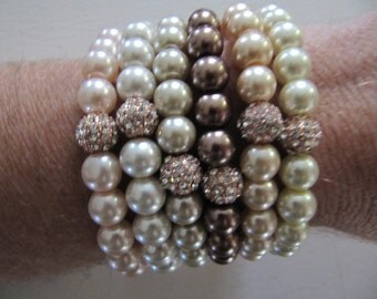 Pave Stacked Pearl Rose Gold Bead Stretch Bracelet - Multi Colors of Pearls