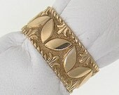 """Victorian 14kt Rose Gold """"Leaf Inspired"""" Bas Relief 8.4mm Wide Band"""