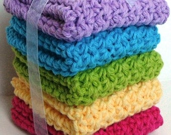 Crochet Dishcloths Washcloths - Set of 5 - Kitchen, Bathroom, Baby - Blue, Green, Purple, Yellow, Pink - 100% Cotton