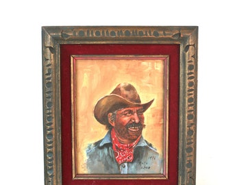Vintage Oil Painting: Gold- Toothed Cowboy 1970s Folk Art