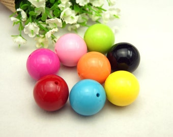 20pcs  25mm  Assorted Color  Acrylic  Round Beads