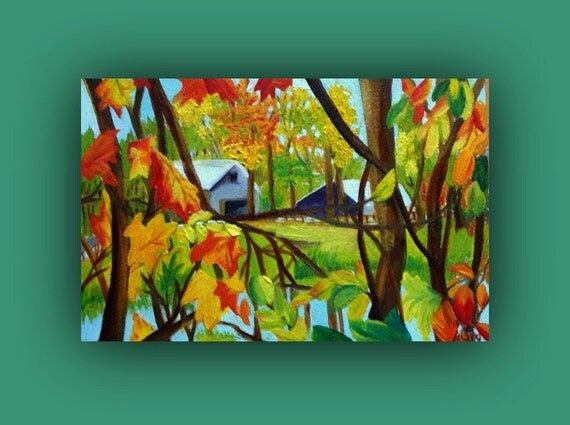 Fall Day on the Farm - Original Oil Painting (farm, barn, fall, leaves, trees, autumn) signed by DanaC