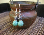Turquoise Stone & Antiqued Silver Cut Out Bead Earrings
