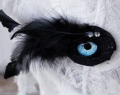 Reserved for Stephanie - Blue Glass Eye Hair Clip with Velvety Black Feathers, Recycled