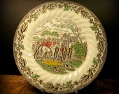 Myott Country Life Polychrome Transferware Dinner Plate
