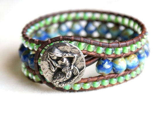 Mermaid Beaded leather cuff bracelet, trendy, boho chic, dark blue, green, turquoise, cobalt, aqua blue, picasso