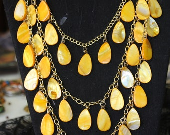 Bright yellow shell pieces necklace