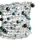 Knit Lacy Cuff Bracelet with Black, Gray and Blue Beads and Magnetic Closure