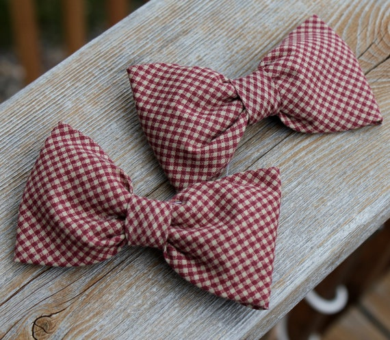 Burgundy and Cream Gingham Plaid Bow Tie - clip on, pre-tied with strap or self tying - freestyle