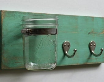 Wall Organizer - Key Hook Mason Jar
