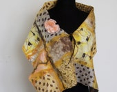 Felted shawl  with flower slip  made with 100% silk chiffon and finest Merino wool