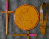 COMPLETE Set - Sword, Dagger, Sword Belt & Shield w/ Unicorn Emblem - Handmade Leather