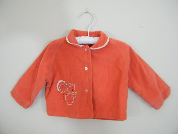 Vintage 1960s Corduroy Baby Jacket / Squirrel