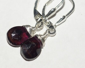 Red Garnet Earrings 925 Sterling Silver Wire Wrapped Drop Earrings Gemstone Earrings