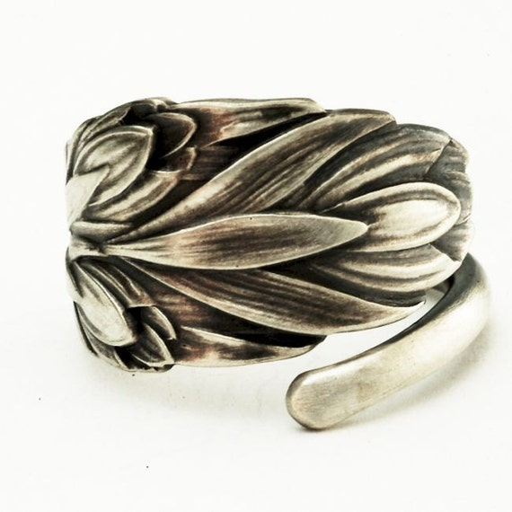 sterling silver small vintage tulip floral spoon ring by