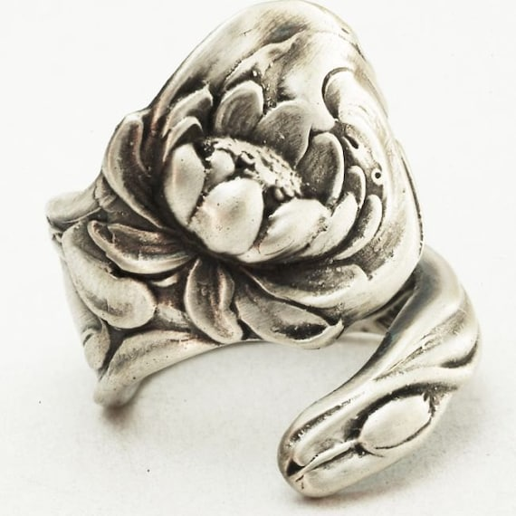 Spectacular Lotus Flower Pond Lily, Sterling Silver Spoon Ring, Made in YOUR Size (2866)