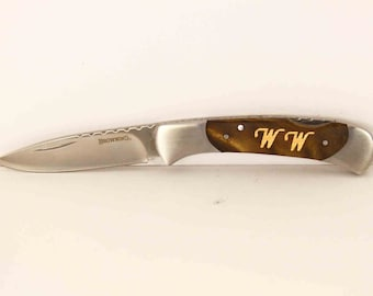 Browning Personalized maple wood initials Inlay Pocket knife