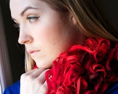 Women's Scarf - SASSY  - Hand Knit Scarf Lace Ruffles Red