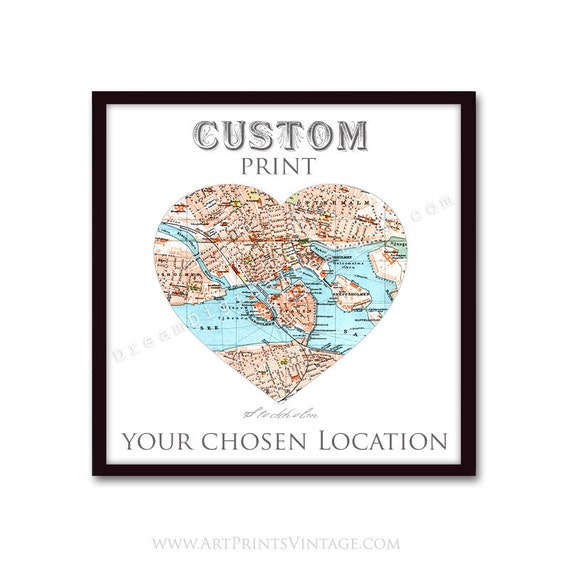 Personalized Map, New Home, Housewarming Gift, Engagements, Heart Map Art, Wedding Anniversary Gift, for Couples - Any Location
