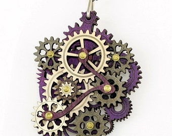 Purple Themed Kinetic Gear Pendant #6001E- All made from laser cut moveable wood pieces