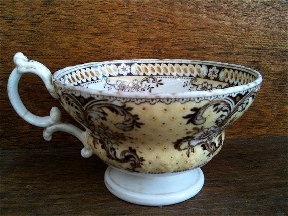 Antique English dainty white yellow ceramic coffee tea cup circa 1900-10's / English Shop