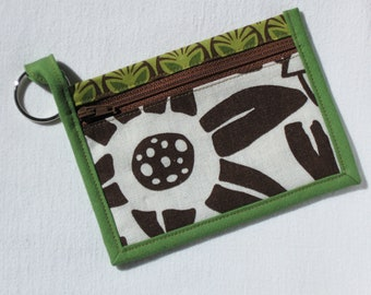 Brown and green floral wallet, coin purse or key chain