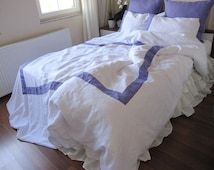 White Linen Duvet cover with purple border -Cal King duvet cover  with 2 pillow cases,modern yatching bedding