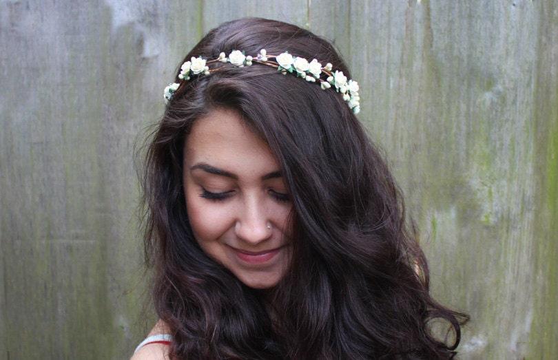 Wedding Floral Hair Band Bridal Flower Crown Ivory Rose By