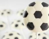 12 Soccer Ball Chocolate Lollipops