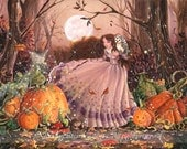 Autumn Faery Witch- whimsical, Victorian fantasy illustration with magical pumpkins- digital fine art print 8x10 & 5x7 print