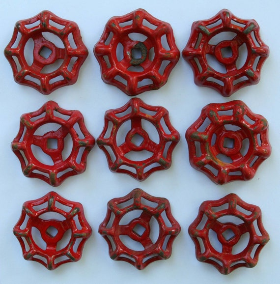 Big Sale -20% Off items-Use Coupon Code-SuperSavings-Set of 9 Red Super Patina  Vintage Faucet /Valve Handles