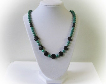 Vintage Turquoise and Black Crystal Bead Necklace