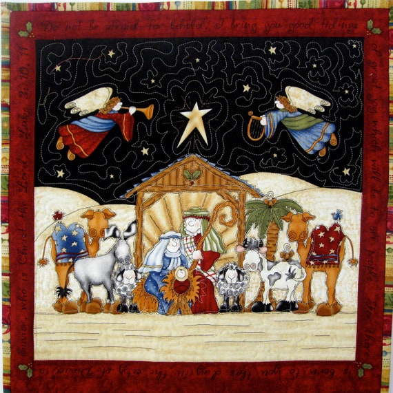 Advent Calendar Whimsical Nativity Quilted Wall Hanging Heirloom ...