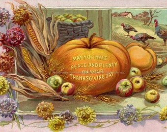 Thanksgiving Card - Peace and Plenty Turkey and Pumpkin - Repro Greeting Card