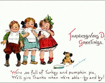 Thanksgiving Card - Kids Full of Turkey and Pie - Repro Greeting Card