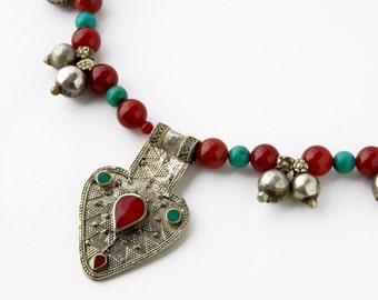 Turquoise and Red Carnelian Tribal Fusion Belly Dancing Necklace, Brass Bell Gypsy Statement Necklace, Kuchi Turkoman Bohemian Necklace