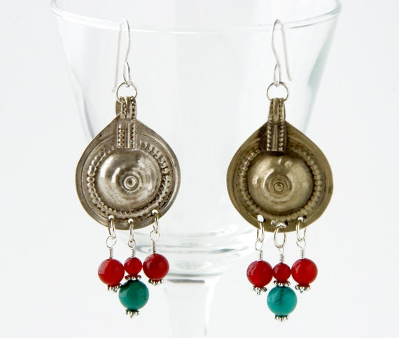 Turquoise and Red Carnelian Tribal Fusion Belly Dancing Chanelier Earrings, Kuchi Earrings, Antique Turkoman Button Jewelry