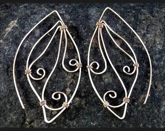 Gold Wire Wrapped Ear Threads Earrings, Butterfly Wings. Statement Earrings.