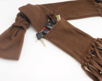 Zipper Pocket Fleece Scarf WITH Fringe in Medium Brown with Matching Fleece Scarf Ring
