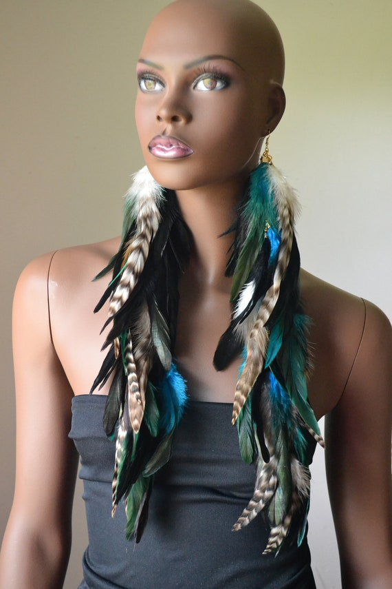 Very Long Feather Earrings Black, Turquoise  and Grizzly Feathers