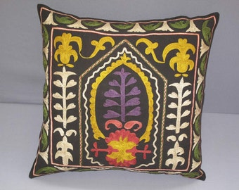 "Beautiful handmade flowers Samarkand pattern Suzani Pillow Cover   original  silk 19.5"" x 19.5"" inch"